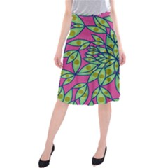 Big Growth Abstract Floral Texture Midi Beach Skirt by Simbadda