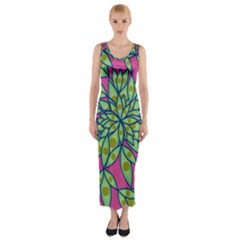Big Growth Abstract Floral Texture Fitted Maxi Dress by Simbadda