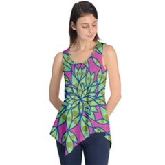 Big Growth Abstract Floral Texture Sleeveless Tunic by Simbadda