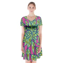 Big Growth Abstract Floral Texture Short Sleeve V Neck Flare Dress by Simbadda