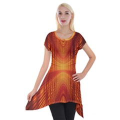 Abstract Wallpaper With Glowing Light Short Sleeve Side Drop Tunic by Simbadda