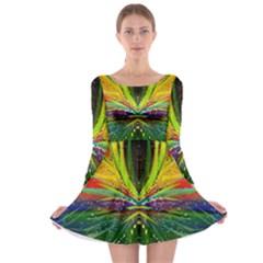 Future Abstract Desktop Wallpaper Long Sleeve Skater Dress