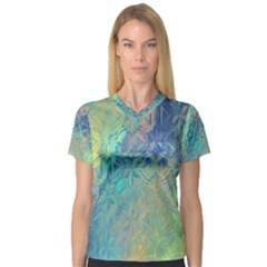 Colorful Patterned Glass Texture Background Women s V Neck Sport Mesh Tee