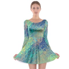 Colorful Patterned Glass Texture Background Long Sleeve Skater Dress