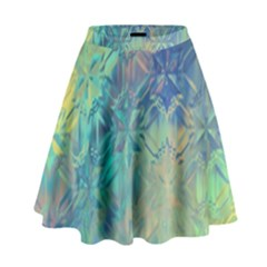 Colorful Patterned Glass Texture Background High Waist Skirt by Simbadda