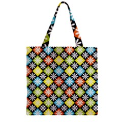 Diamond Argyle Pattern Colorful Diamonds On Argyle Style Zipper Grocery Tote Bag by Simbadda