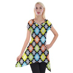 Diamond Argyle Pattern Colorful Diamonds On Argyle Style Short Sleeve Side Drop Tunic