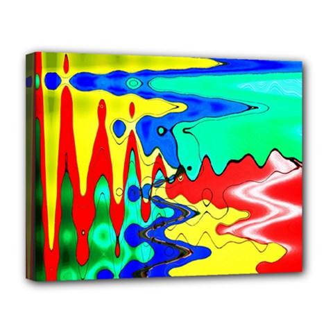 Bright Colours Abstract Canvas 14  X 11  by Simbadda