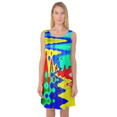 Bright Colours Abstract Sleeveless Satin Nightdress