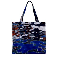 Colorful Reflections In Water Zipper Grocery Tote Bag by Simbadda
