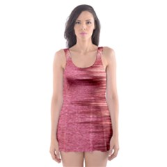 Rectangle Abstract Background In Pink Hues Skater Dress Swimsuit by Simbadda