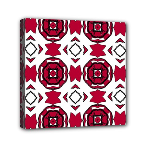 Seamless Abstract Pattern With Red Elements Background Mini Canvas 6  X 6  by Simbadda