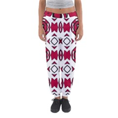Seamless Abstract Pattern With Red Elements Background Women s Jogger Sweatpants by Simbadda