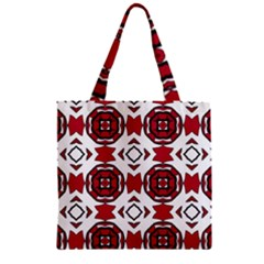 Seamless Abstract Pattern With Red Elements Background Zipper Grocery Tote Bag by Simbadda