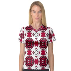 Seamless Abstract Pattern With Red Elements Background Women s V Neck Sport Mesh Tee