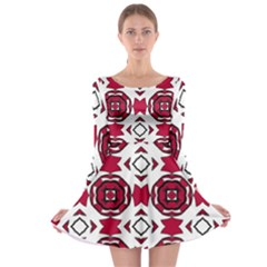 Seamless Abstract Pattern With Red Elements Background Long Sleeve Skater Dress