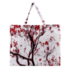 Tree Art Artistic Abstract Background Zipper Large Tote Bag by Simbadda