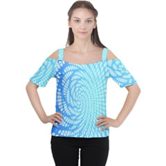 Abstract Pattern Neon Glow Background Women s Cutout Shoulder Tee