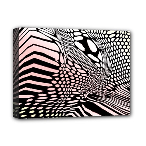 Abstract Fauna Pattern When Zebra And Giraffe Melt Together Deluxe Canvas 16  X 12   by Simbadda