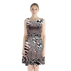 Abstract Fauna Pattern When Zebra And Giraffe Melt Together Sleeveless Chiffon Waist Tie Dress by Simbadda