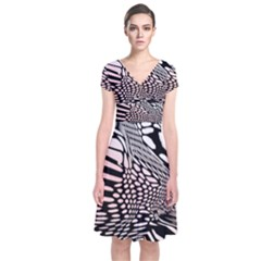 Abstract Fauna Pattern When Zebra And Giraffe Melt Together Short Sleeve Front Wrap Dress