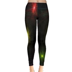 Star Lights Abstract Colourful Star Light Background Leggings  by Simbadda