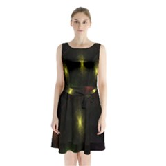 Star Lights Abstract Colourful Star Light Background Sleeveless Chiffon Waist Tie Dress by Simbadda