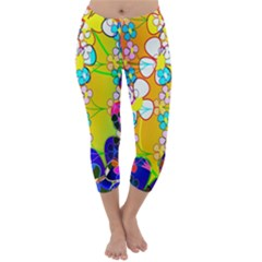 Abstract Flowers Design Capri Winter Leggings  by Simbadda