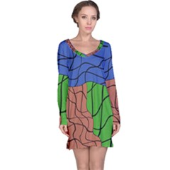 Abstract Art Mixed Colors Long Sleeve Nightdress