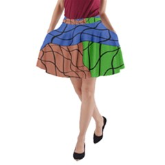 Abstract Art Mixed Colors A Line Pocket Skirt by Simbadda