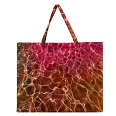 Background Water Abstract Red Wallpaper Zipper Large Tote Bag by Simbadda