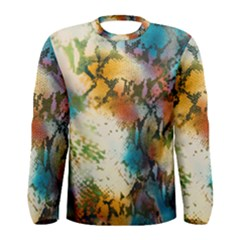 Abstract Color Splash Background Colorful Wallpaper Men s Long Sleeve Tee by Simbadda