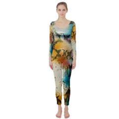 Abstract Color Splash Background Colorful Wallpaper Long Sleeve Catsuit by Simbadda