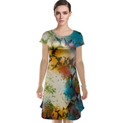 Abstract Color Splash Background Colorful Wallpaper Cap Sleeve Nightdress by Simbadda