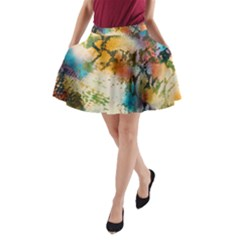 Abstract Color Splash Background Colorful Wallpaper A Line Pocket Skirt by Simbadda
