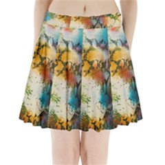 Abstract Color Splash Background Colorful Wallpaper Pleated Mini Skirt by Simbadda