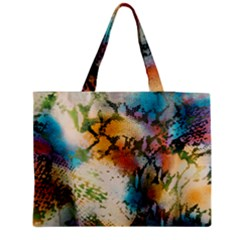 Abstract Color Splash Background Colorful Wallpaper Medium Zipper Tote Bag by Simbadda