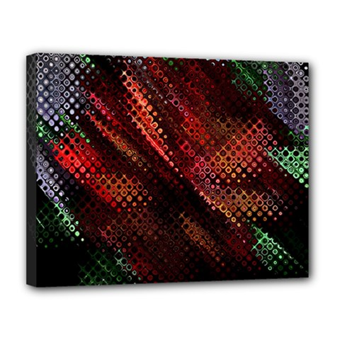 Abstract Green And Red Background Canvas 14  X 11  by Simbadda