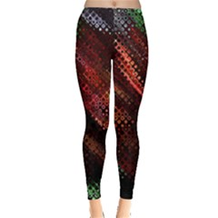 Abstract Green And Red Background Leggings  by Simbadda