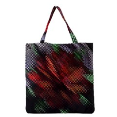 Abstract Green And Red Background Grocery Tote Bag by Simbadda