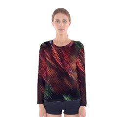 Abstract Green And Red Background Women s Long Sleeve Tee