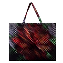 Abstract Green And Red Background Zipper Large Tote Bag by Simbadda