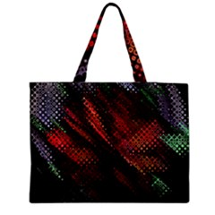Abstract Green And Red Background Medium Zipper Tote Bag by Simbadda