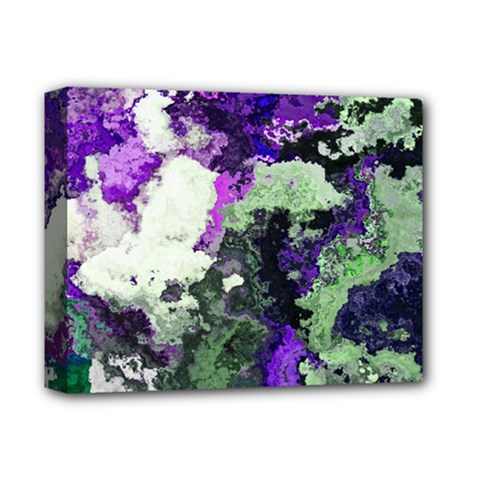 Background Abstract With Green And Purple Hues Deluxe Canvas 14  X 11  by Simbadda