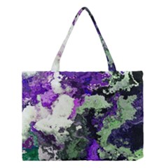 Background Abstract With Green And Purple Hues Medium Tote Bag by Simbadda