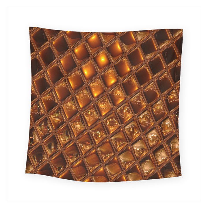 Caramel Honeycomb An Abstract Image Square Tapestry (Small)