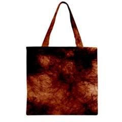 Abstract Brown Smoke Zipper Grocery Tote Bag by Simbadda