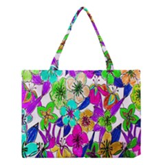Floral Colorful Background Of Hand Drawn Flowers Medium Tote Bag by Simbadda