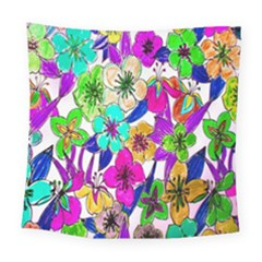 Floral Colorful Background Of Hand Drawn Flowers Square Tapestry (large) by Simbadda