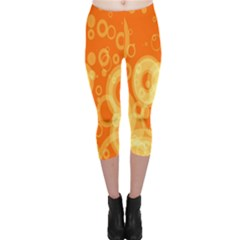 Retro Orange Circle Background Abstract Capri Leggings  by Nexatart